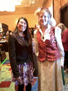 I discussed steampunk fashion with author Carrie Vaughn at the Merchant Emporium on Saturday, March 30.